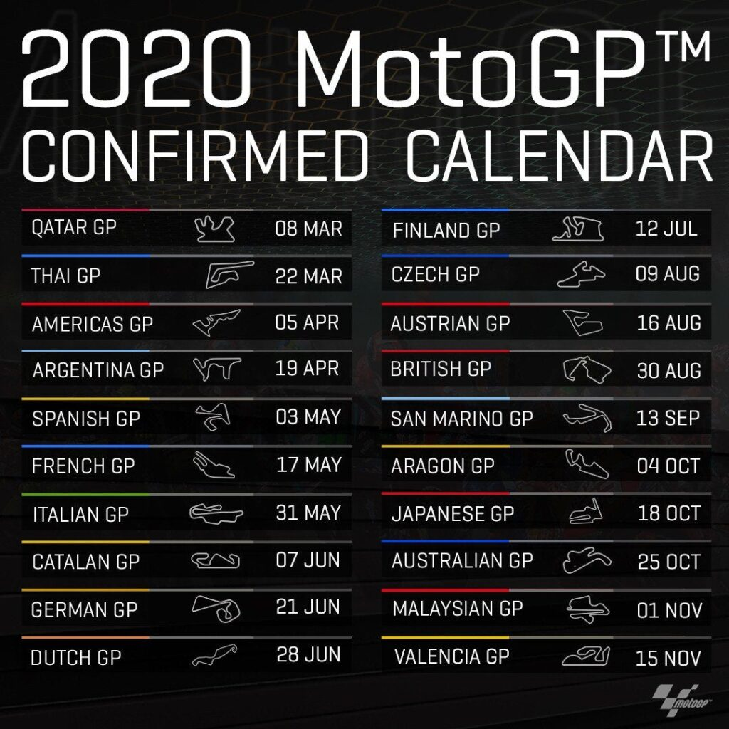 Calendario della MotoGP 2020 (pre-covid)