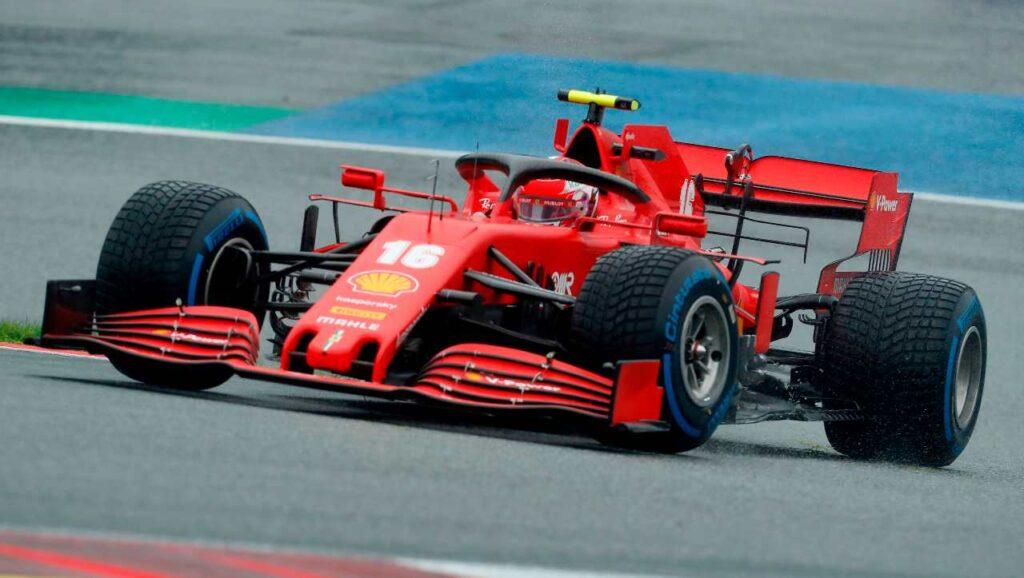 Qualifiche GP di Stiria 2020: Charles Leclerc in azione con la Ferrari SF1000