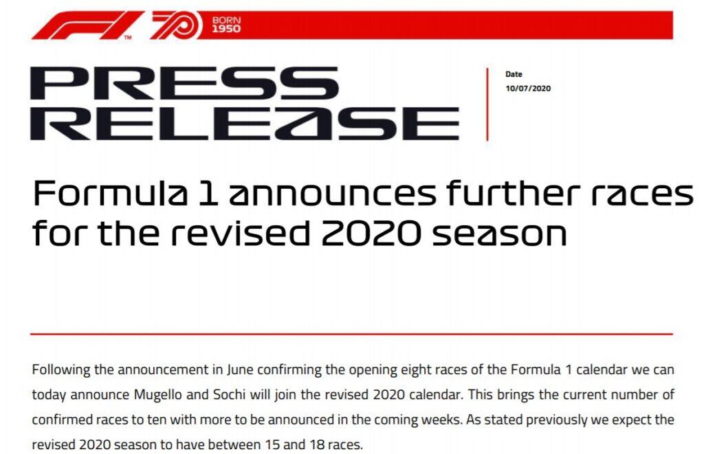 Comunicato GP del Mugello 2020 di Formula 1