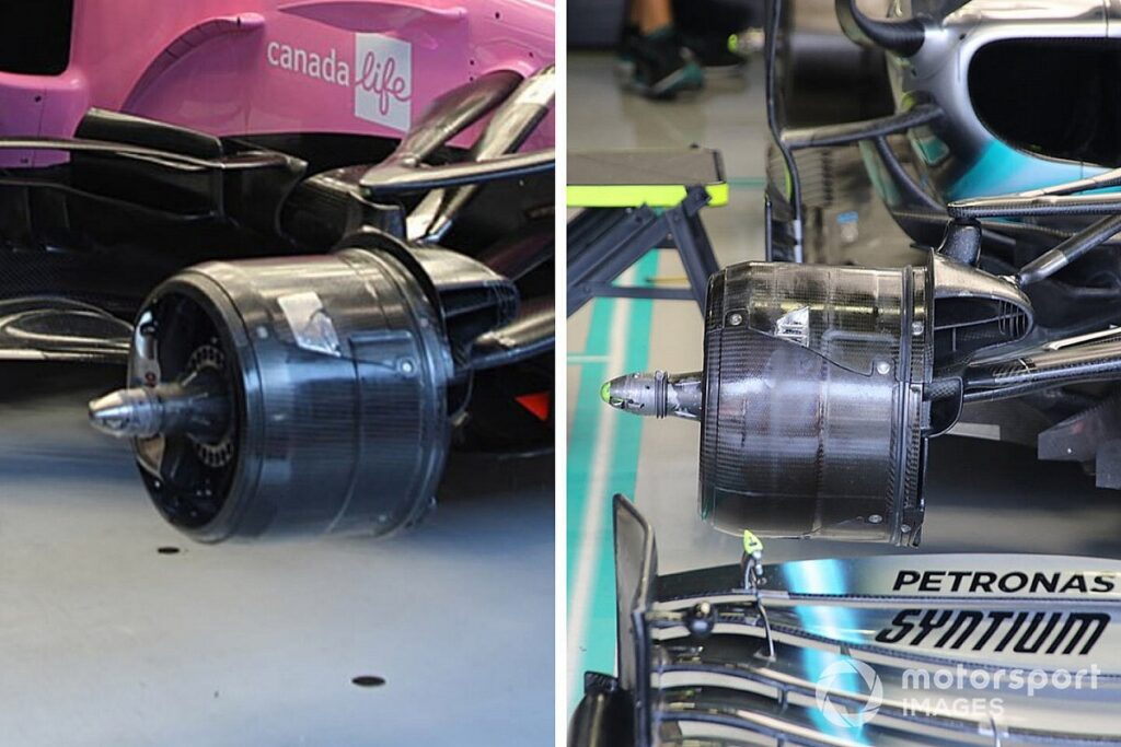 Racing Point RP20 vs Mercedes W10 brake ducts (credits: motorsport.com)