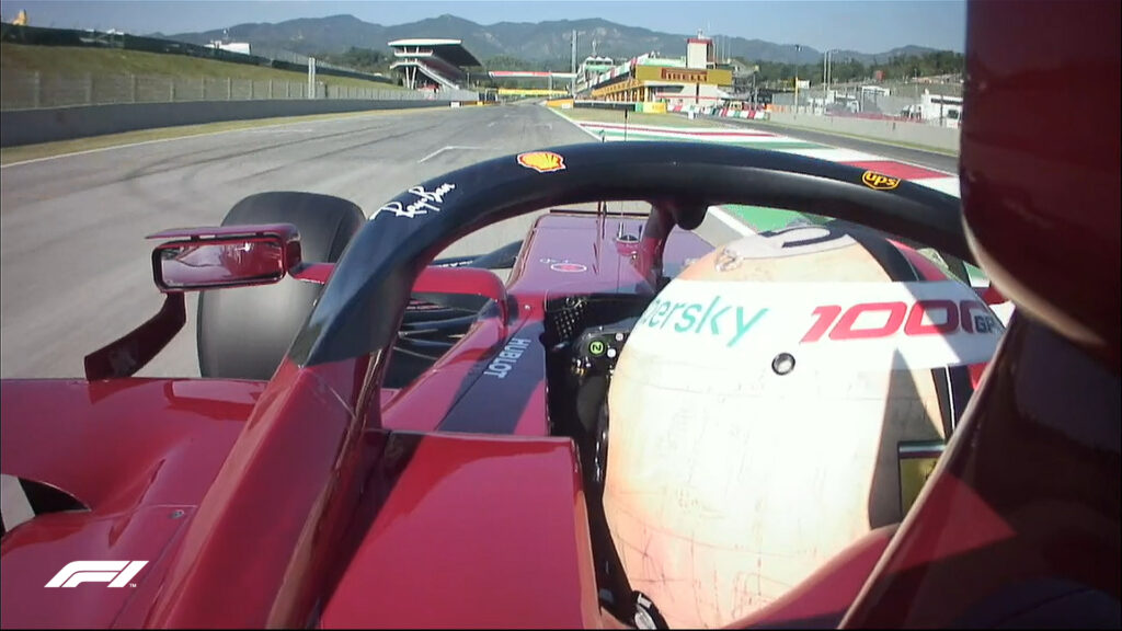 Sebastian Vettel in azione con la Ferrari Sf1000 nelle qualifiche del GP di Toscana 1000