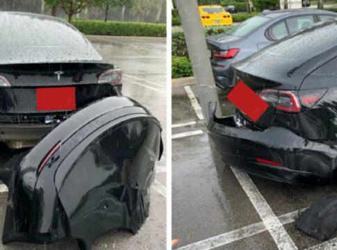 Tesla Model 3 perde il paraurti con la pioggia (VIDEO)