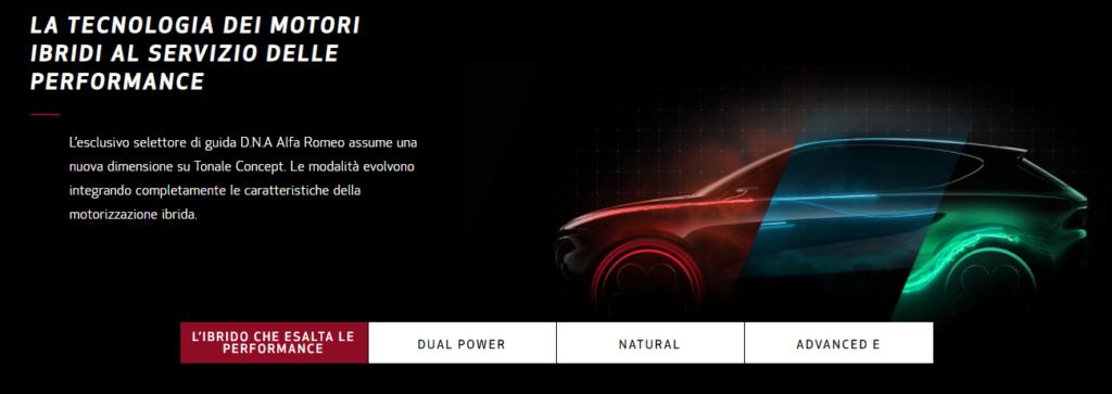 Mappature e gestione motore della Tonale, direttamente dal sito Alfa Romeo