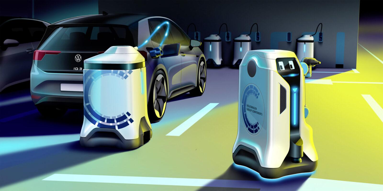 Il dispositivo mobile di accumulo dell'energia rimane con l'auto durante il processo di ricarica. Il robot nel frattempo va a ricaricare altre auto