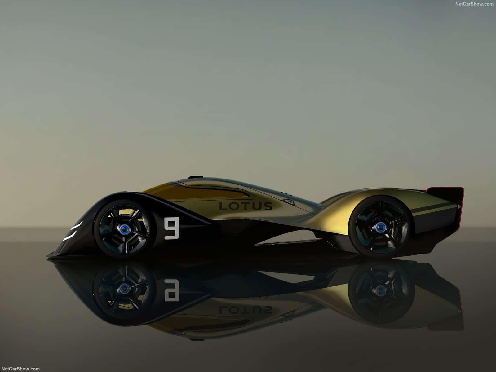 Vista laterale della Lotus E-9R. Si può notare il design simile ad altre auto da corsa inglesi, come Bentley Speed 8