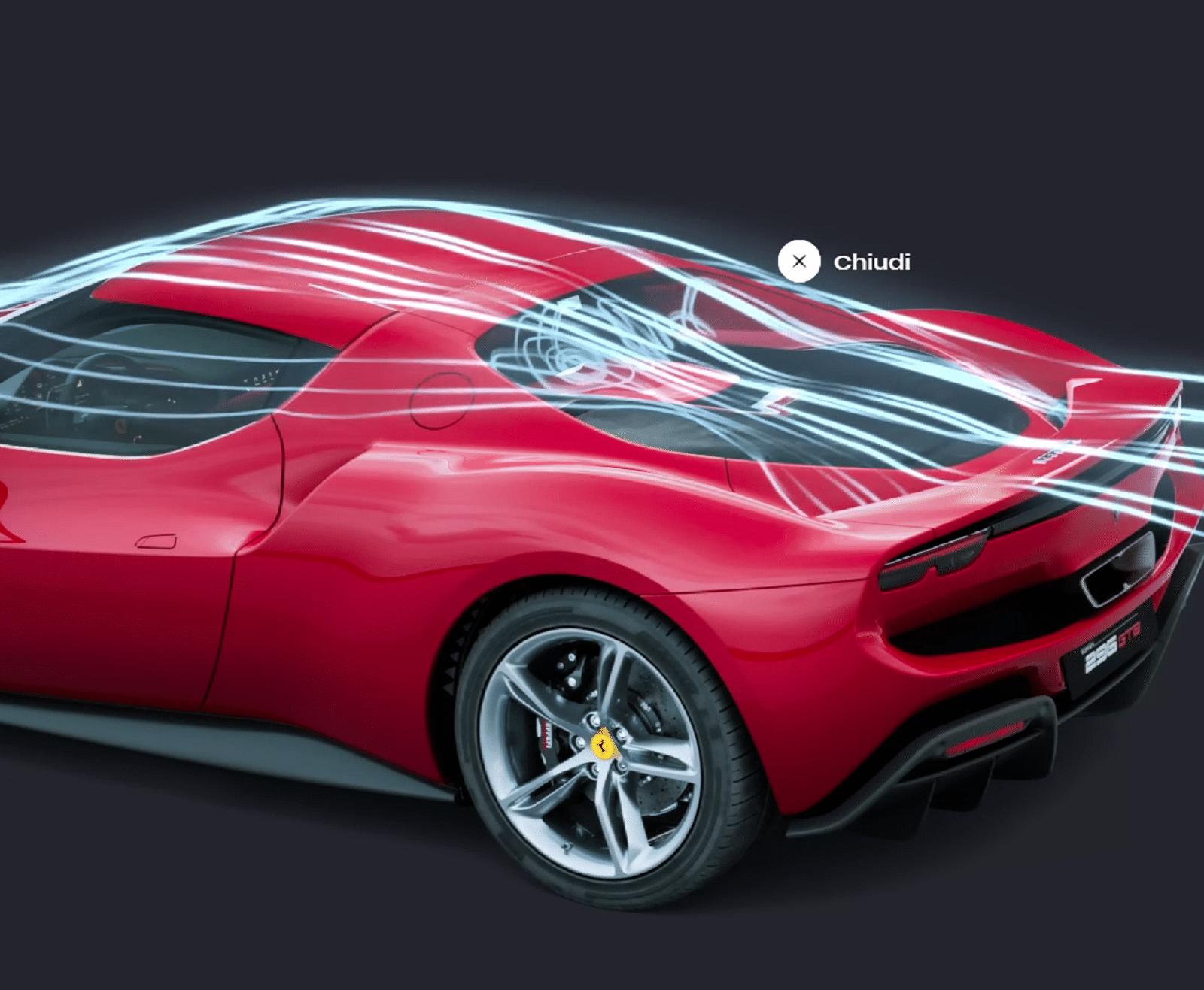 L'aerodinamica posteriore della Ferrari 296 GTB