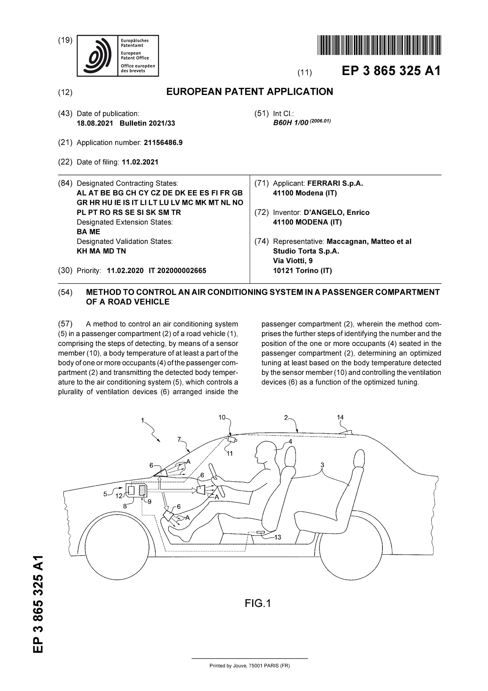 Il brevetto Ferrari sull'impianto di climatizzazione