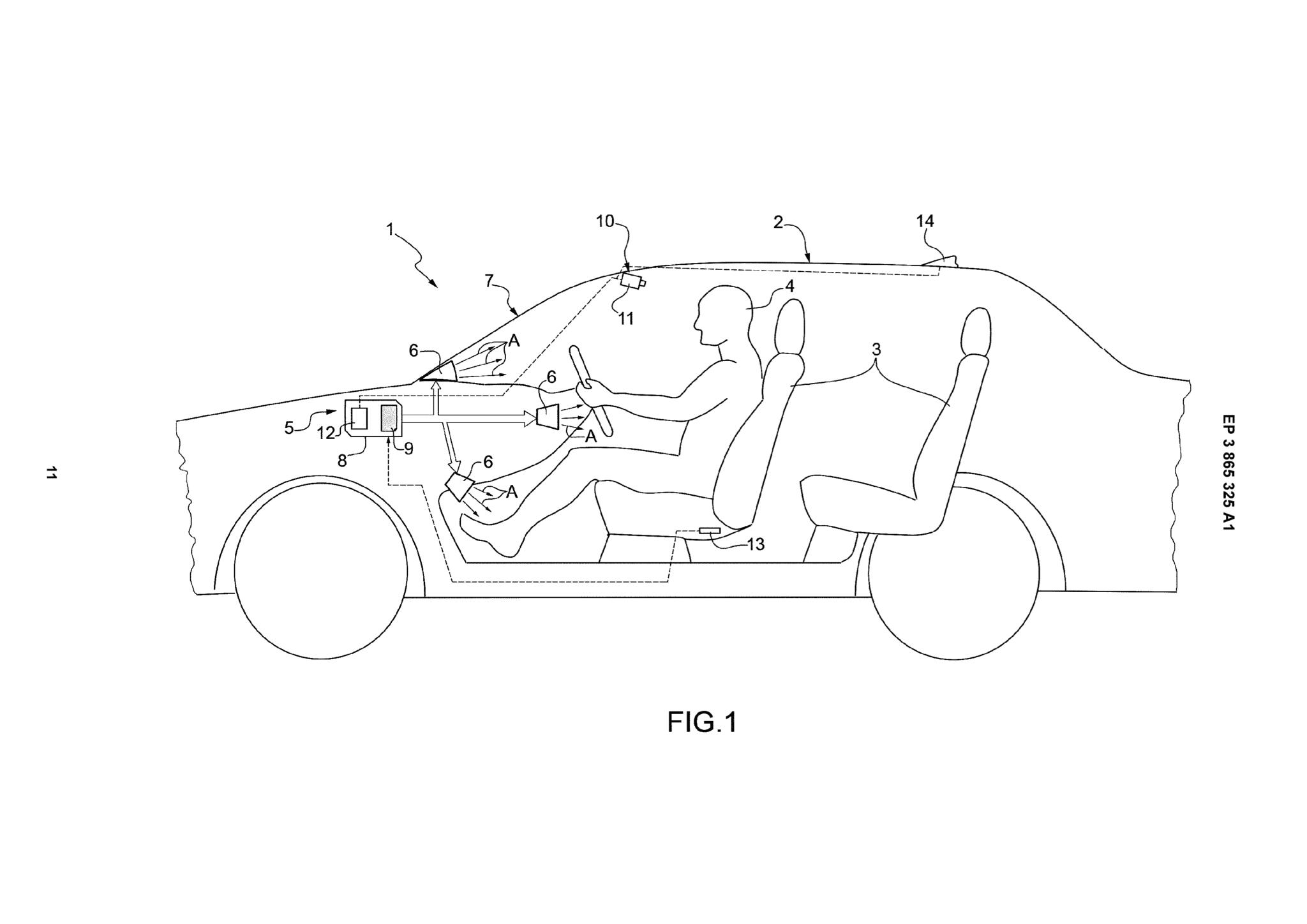 Il modello utilizzato nel brevetto Ferrari del sistema di climatizzazione dell'abitacolo